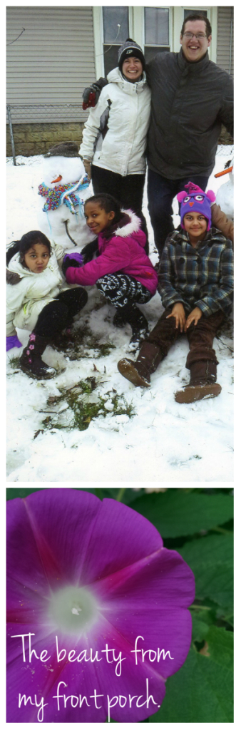 Kids in snow and flower