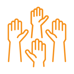 individual change management 4 hands raised